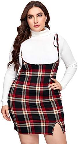 Floerns Women s Plus Size Plaid Tie Shoulder Pinafore Split Bodycon Mini Dress Multi 3XL product image