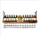 N\C ZSCC - Estante de almacenamiento para vino y champán, soporte de pared para colgar copas de vino, estante de almacenamiento para pared, estante de exhibición para decoración de bar, estilo vintage