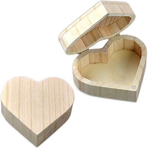 2 Piezas Joyero de Madera en Forma de Corazón,Caja de Almacenamiento,Caja de Madera,Caja de Madera Lisa,Caja de Madera para Joyería para Guardar Maquillaje,Pendientes,Anillos etc