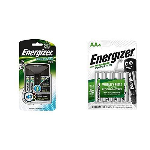 Energizer 639837 - Cargador 4HR6, 2000 mAh + Power Plus AA - Pilas Recargables, Color Plateado