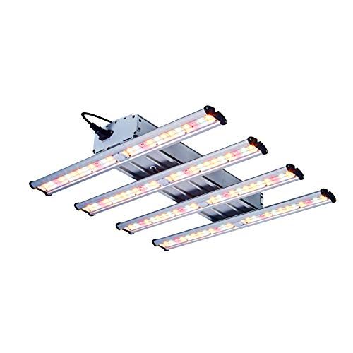 TopoGrow New Tech Hydroponic 1200W LED Grow Light Kit Full Spectrum with 4 Light Strips for Indoor Grow Tent Box Room Plant Growing Veg and Flower Actual Power 240W, Cover 3X3