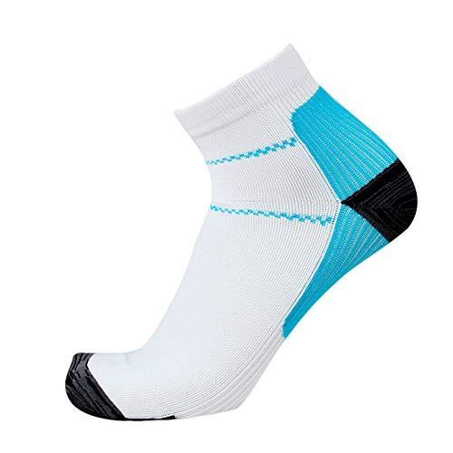 ReTink Kompressionsstrümpfe für Damen, Herren, Fußgewölbe, Schmerzlinderung, Outdoor-Sportsocken, 1 Paar, weiß / blau, L / XL