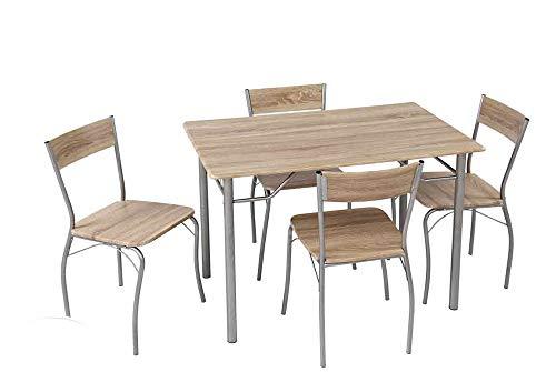 Vetrineinrete Set Tavolo con 4 sedie 110 x 70 x 74 cm Struttura in Metallo Base in Legno con venature Arredamento Cucina Salone (Legno Naturale) Z96
