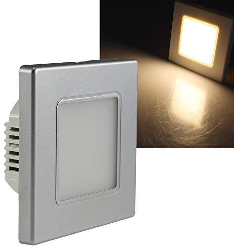 ChiliTec LED Wand Einbauleuchte I Unterputz Montage Ø 60-68mm I 2,5 Watt I 86x86x33mm I Rahmen Silber Lichtfarbe Warmweiß