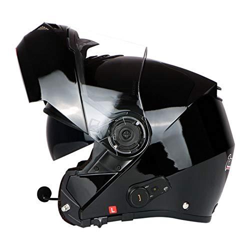 ZLYJ Casco Plegable para Motocicleta con Bluetooth, Casco Integral para Motocicleta, Ligero con Visera Doble, Cascos De Motocross Aprobados por ECE B,M(53-57cm)