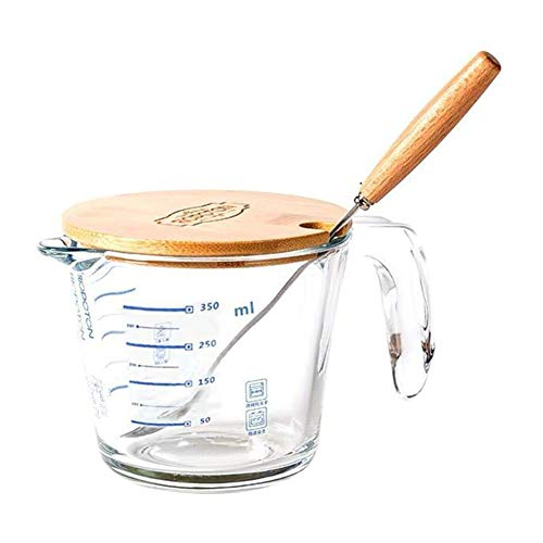 FSGD Transparante maatbeker, 350 ml, hittebestendig, van glas, maatbeker voor melk, schaal, magnetron, voor thee, koffie, whisky en witte melk