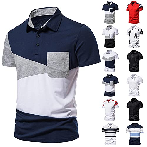 Mens Polo Shirts Casual Collar Office Golf T Shirt Short Sleeve Classic Cut Athletic Tops