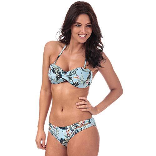 Womens Vero Moda Palm Tanga Bikini Bottoms in cool Blue.