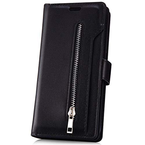 JAWSEU Compatible avec Huawei Mate 20 Pro Coque Portefeuille PU Étui Cuir à Rabat Magnétique avec Fonction Stand and Card Slots Fermeture éclair Leather Flip Wallet Case pour Homme Femme