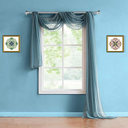 Warm Home Designs Extra Long 54' (Width) x 216' (Length) Sheer Dusty Blue (Slate) Window Scarf. All Premium Valance Scarves are Great for Any Window, Bed, Wall or Other DIY Project. K Dusty Blue 216'