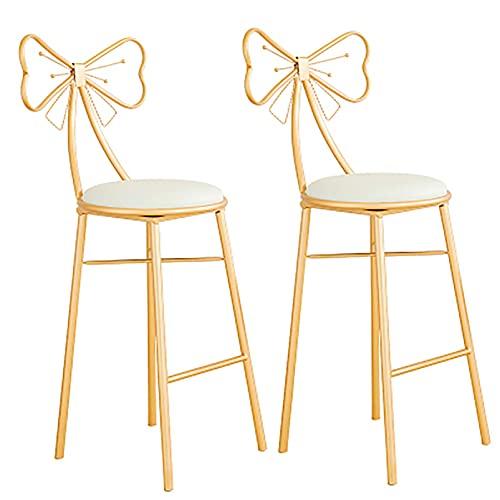 URINGO Bow Chair Barhocker Frühstückstheke Stühle Kaffee Barstuhl Golden Esszimmerstuhl Schmiedeeisen - Wohnstuhl/Sitzhöhe 65cm/75cm Küche Hausgartenmöbel