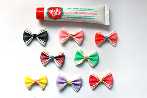Girlie Glue Tube and 8 Vintage Bows for Babies and Pets
