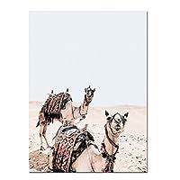 HANSHUIHONGポスター砂漠のラクダの壁アートプリント自由奔放に生きるスタイルのキャンバスポスターカリフォルニアアリゾナ旅行砂漠のアート絵画装飾的な絵家の装飾-60x80cmx1フレームなし