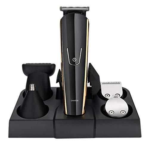 Jinding 5 in 1 Multifunktions-Haarschneider Set mit Kamm Öl 5 Köpfe mit Nasenohren Trimmer Form Trimmer Bart waschbar Bart