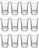 12 Vasos de Chupito de Cristal 4 cl - Estables - Aptos para Lavavajillas - Vasitos de Vidrio para Chupitos