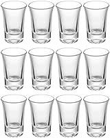 12 bicchierini da shot di vetro 4 cl - con base spessa - lavabile in lavastoviglie - bicchieri amaro