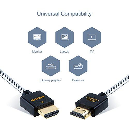HDMI Kabel, Ultra dünn HDMI Stecker auf Stecker, CableCreation 6ft HDMI 2.0 High-Speed Ultra Slim Kabel, Unterstützen 3D, 4K @ 60Hz, Audio Return (Letzter Standard), PS4, X-Box usw, Geflochten, 1.8 M