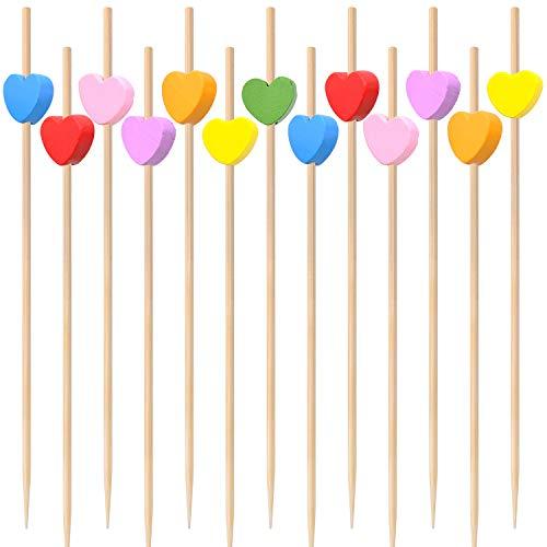 100 piezas Palos de Cóctel, Palillos para Cócteles, para Cócteles Pasteles Barbacoas Fiesta y Boda Decoración (Amor)