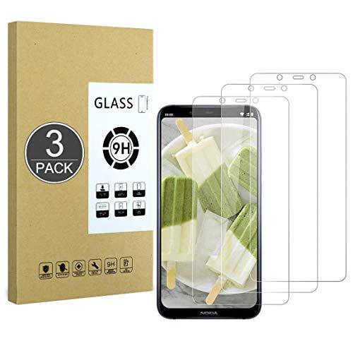 E-Hamii Proteggi Schermo Compatibile con Nokia 8.1,[Resistente ai Graffi,Alta Definizione,Senza Bolle], [3 Pezzi] Pellicola Protettiva in Vetro Temperato per Nokia 8.1