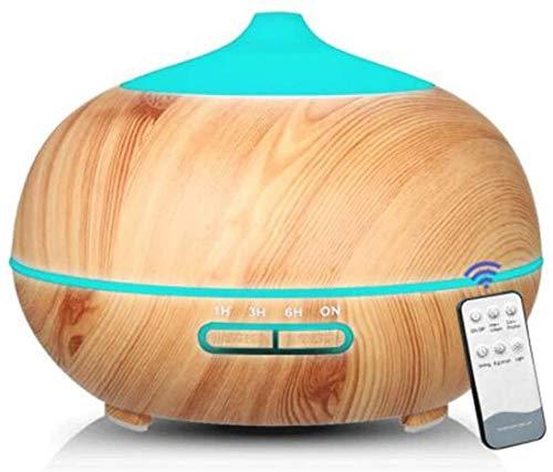 Wood Grain koele mist Aromatherapie luchtbevochtiger, met 7 kleuren LED verlichting 4 Timers, Nebulizer, Met afstandsbediening, watervrij automatische uitschakeling, 400ml, for Slaapkamer, Kantoor, fi