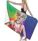 BAOYUAN0 Harley Quinn Toalla de Playa para Mujer Toalla de baño Absorbente de Microfibra Accesorios para Acampar Manta de Picnic 80 * 130cm SJ044