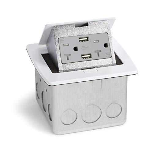 Kitchen Countertop Pop Up 20A Charging USB Outlet (White)