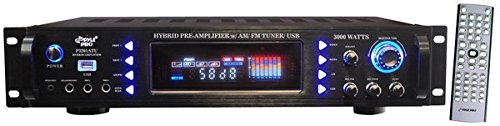 4-Channel Home Audio Power Amplifier - 3000 Watt Stereo Receiver w/Speaker Selector, AM FM Radio, USB, Headphone, Microphone Input - Great for Karaoke and Home Entertainment System - Pyle P3201ATU
