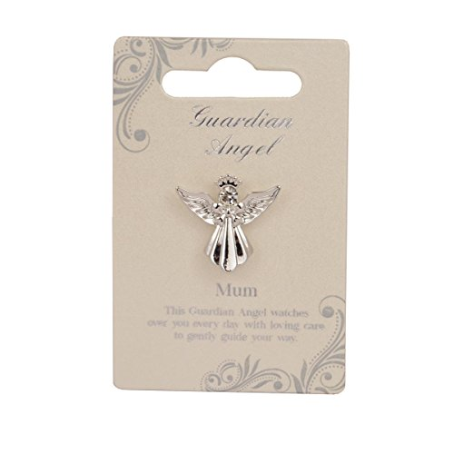 Guardian Angel Mum | Gift Idea | Pind Badge | Brooch Pin, Silver, One Size