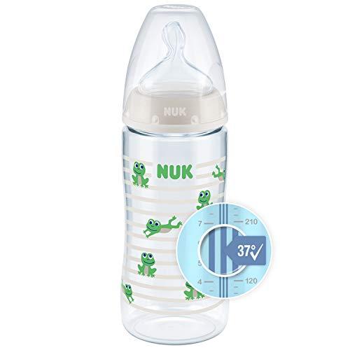 NUK First Choice+ Babyflasche | mit Temperature Control Anzeige | 300ml | 6-18 Monate | Anti-Colic | BPA Frei | grün (Frosch)