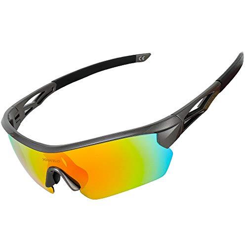 JOGVELO Polarized Sports Sunglasses,Cycling Glasses Men with 5 Interchangeable Lenes, Gray
