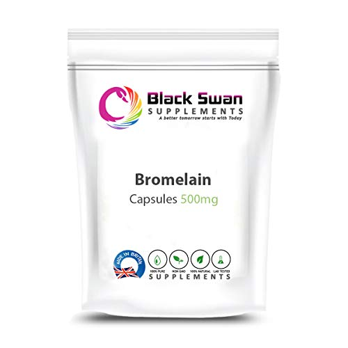 Black Swan Bromelain 500mg Capsules - UK Made - Protein Digestive Enzyme Supplement – for Immune System and Anti-Inflammatory – Veg Supplement (120 caps)