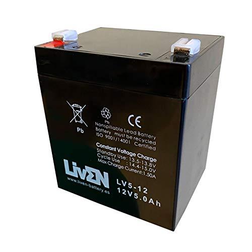 Batería AGM 12V 5Ah C-20 Sin Mantenimiento - Equipos Seguridad/Médicos/SAI/Comunicación/Emergencia   LIVEN LV5-12