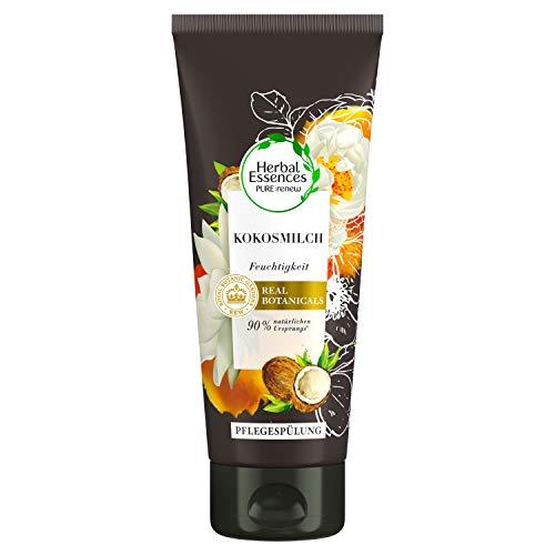 Herbal Essences PURE:renew Kokosmilch Feuchtigkeit Pflegespülung, 200 ml, Conditioner, Coconut Milk, Kokos, Haarpflege Glanz, Haarpflege Trockenes Haar, Aloe Vera, Haarpflege Für Trockene Haare