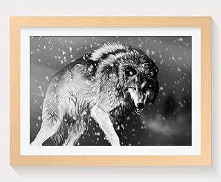 怒っているオオカミ -動物 -#14624 - 木製フォトフレーム 写真フレーム 木製 の枠 装飾画 壁掛け 壁飾り 壁ポスター 木製タグ おしゃれ ウォールアート アートパネル 壁の絵 インテリア絵画 額縁 部屋飾り 贈り物 プレゼント 黒と白 横 40×60cm