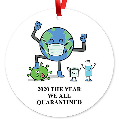 Soul Décor 2020 Christmas Ornament Quarantine, 2020 The Year We All Quarantined Ornament, Large 3.75' Round Metal Ornament, Velvet Pouch Included