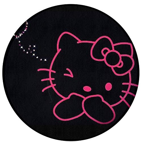 DNBCJJ - Alfombra Redonda Antideslizante de Microfibra con diseño de Hello Kitty
