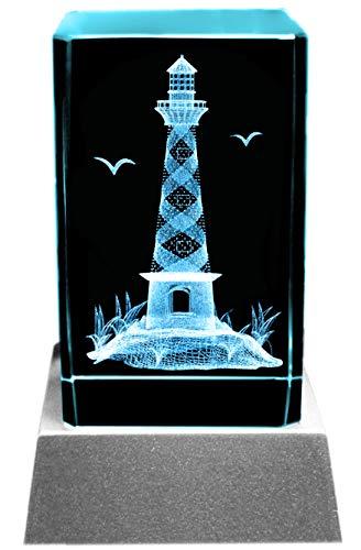 Kaltner Präsente Stimmungslicht - EIN ganz besonderes Geschenk: LED Kerze/Kristall Glasblock / 3D-Laser-Gravur Leuchtturm Meer & Urlaub