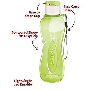 MILTON Sports Water Bottle Kids Reusable Leakproof 25 Oz 4-Pack Plastic Wide Mouth Large Big Drink Bottle BPA & Leak Free with Handle Strap Carrier for Cycling Camping Hiking Gym Yoga