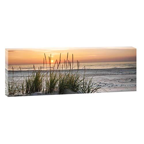Querfarben Bild auf Leinwand mit Landschaftsmotiv Sonnenuntergang am Meer | 120 x 40 cm, Farbig, Wandbild, Leinwandbild mit Kunstdruck, Nordseebild mit Strandmotiv auf Holzrahmen gespannt, 40x120 cm