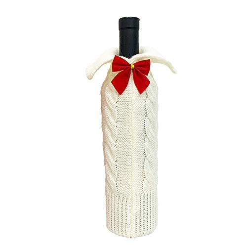Rantoloys Cubierta de Botella de Vino de Navidad Botella de Vino de Navidad Vestido de Botella de Vino de Vacaciones de Punto Lindos Decoraciones artesanales de Fiesta de cumpleaños