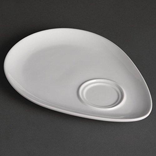 Olympia Lot de 12 assiettes en porcelaine Blanc 185 x 240 mm