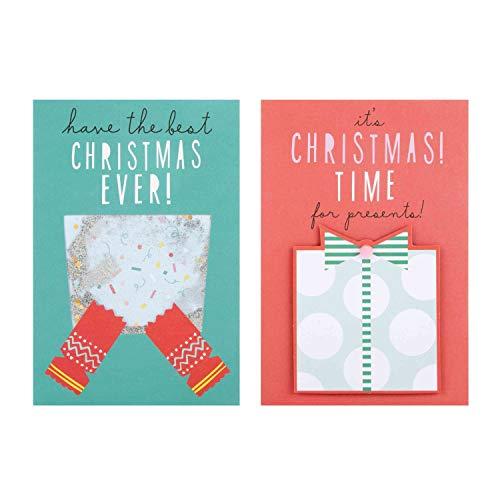 Hallmark Handmade Christmas Boxed Cards 'Glitter Shaker' 10 Cards, 2 Designs