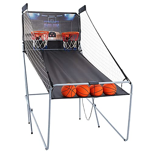 HOMROM Dual Shot Foldable Basketball Arcade Game, 8 Game Modes, Arcade Machines for Home, Perfect Scoring Accuracy, Large LED Basketball Scoreboard, Indoor Outdoor Basketball Game for Kids, Adults