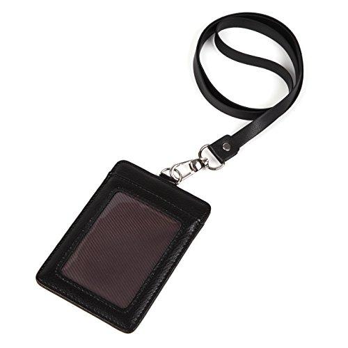 モノボックスジャパン 牛革 IDカードホルダー ネックストラップ ポケット2か所 安全装置 強化フィルム 軽量モデル パスケース 1name-mono3 (ブラック【縦】)