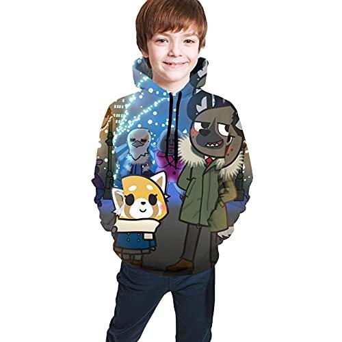 Aggretsuko Retsuko - Sudadera con capucha para adolescentes y niñas con bolsillo, Negro, 10-12 años