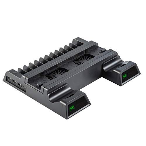 Soporte Vertical YH-38 para PS4 / Slim/Pro con Cargador de Controlador Dual de Ventilador de refrigeración (Negro)