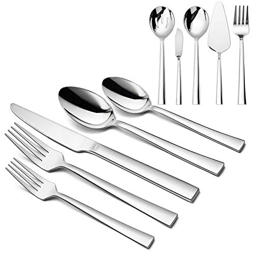 65-Piece Modern Silverware Set, HaWare Stainless Steel Elegant Flatware with Square Edge, Additional 5-Piece Serving Utensils, Tableware Set for 12,...