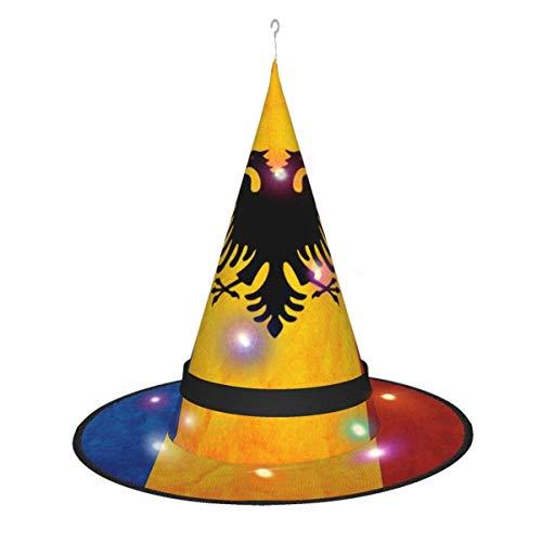 leyhjai Vintage Idioma rumano Colgante Iluminado Brillante Bruja Sombreros Accesorio de Disfraz de Halloween para Fiesta de Halloween Masqu