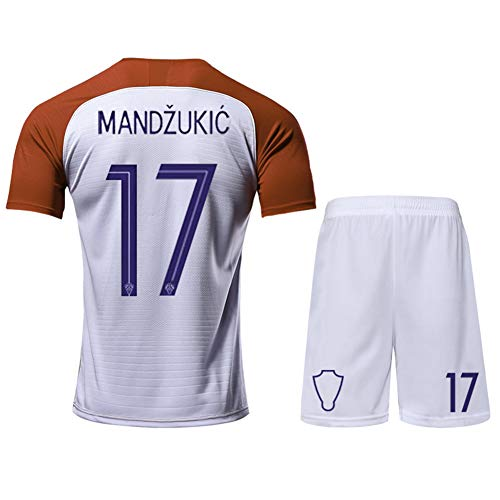 Kinder Fußball Trikot Set-17# Mandzukic Kroatien Professionelle technische Kleidung Athleten Trikot Fans Anzug Teenager Sportswear Mesh Schnelltrocknende Kurzarm Fans Sweatshirt-S(165.170CM)