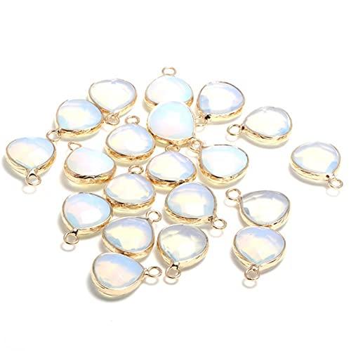 YELVQI Hermosa Piedra Natural Facetada Opal Colgantes de Gota de Agua Forma exquisitos para joyería Fabricación de Bricolaje Pendiente Accesorios (Color : Opal)